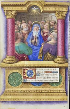 The Pentecost, from a book of hours by Jean Bourdichon.